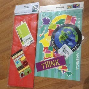 Teacher items, NWT maps, pocket chart, die cuts
